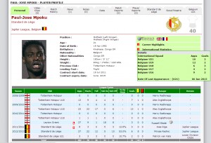ProScout7 Player Record Interface