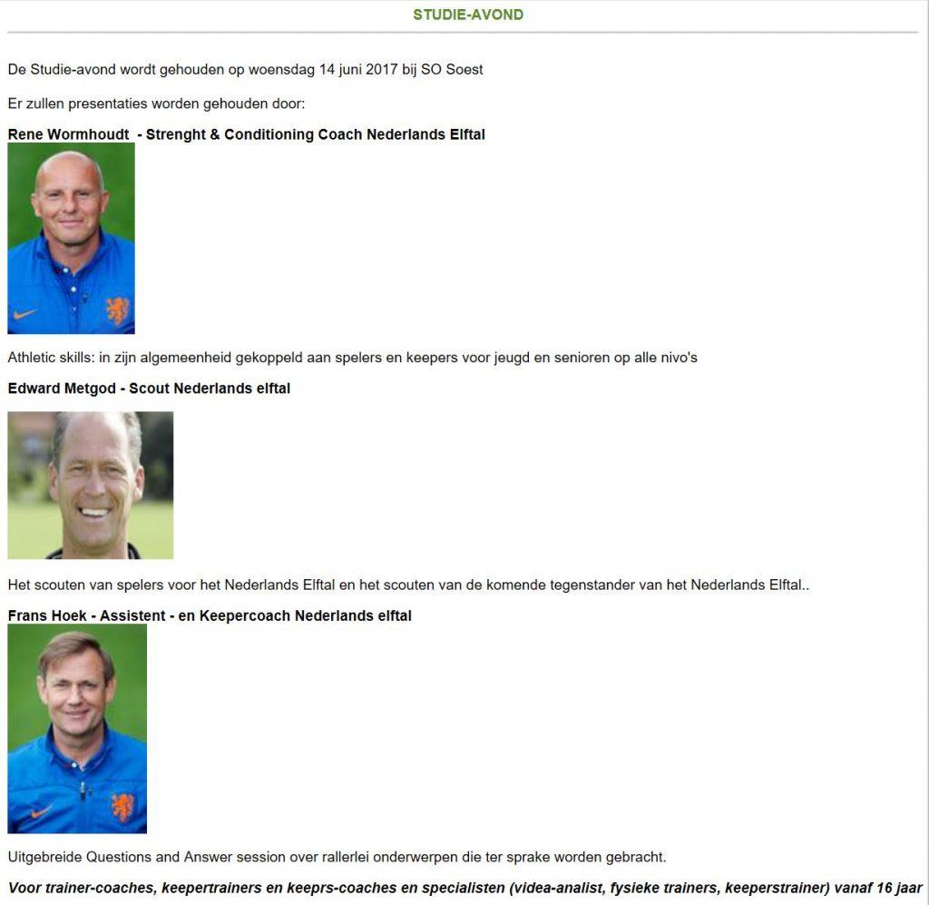Frans Hoek Sports studie-avond: 14 juni